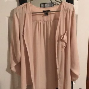 3/4 length sleeve button up blouse